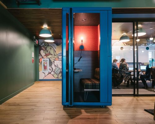 In case you need to make a long work call, then it's best to go to a phone booth or other areas designed for informal meetings.